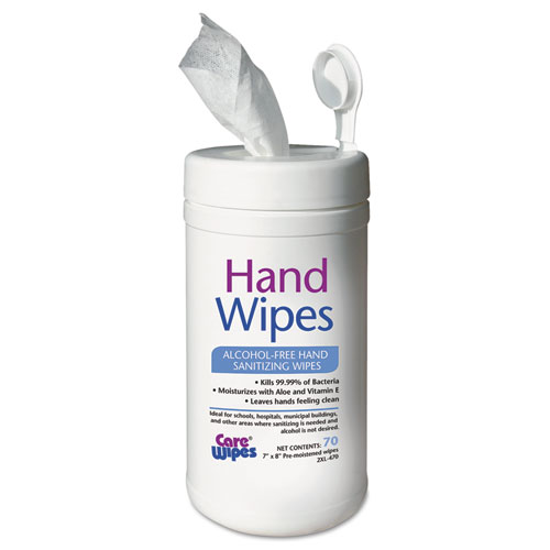 Alcohol Free Hand Sanitizing Wipes, 7 x 8, White. Picture 1