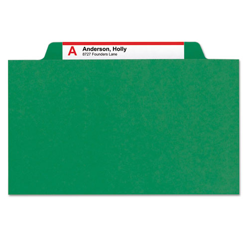 Four-Section Pressboard Top Tab Classification Folders with SafeSHIELD Fasteners, 1 Divider, Legal Size, Green, 10/Box. Picture 2
