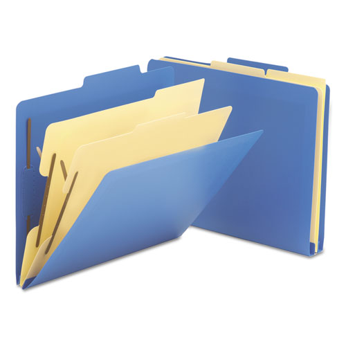 Six-Section Poly Classification Folders, 2 Dividers, Letter Size, Blue, 10/Box. Picture 1