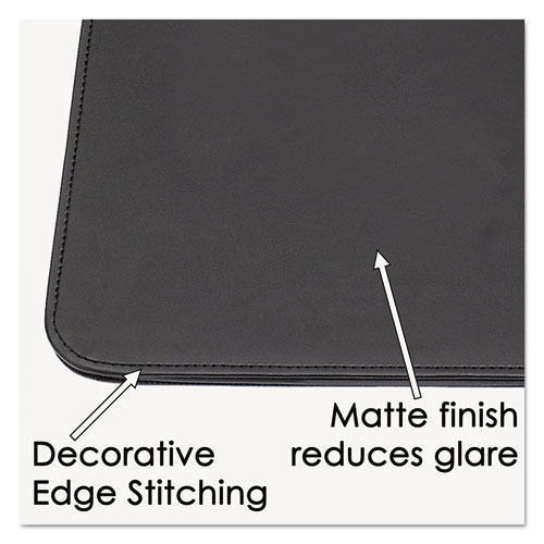 Sagamore Desk Pad w/Decorative Stitching, 24 x 19, Black. Picture 3