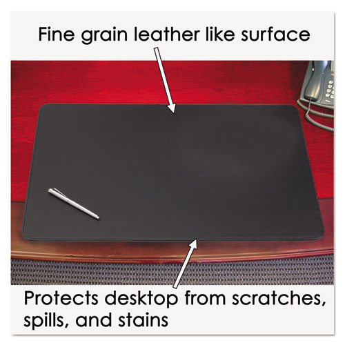 Sagamore Desk Pad w/Decorative Stitching, 38 x 24, Black. Picture 2