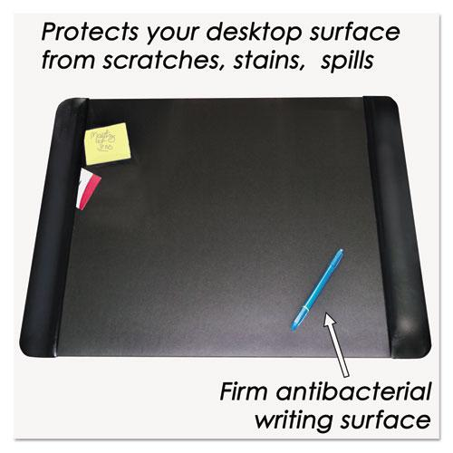 Executive Desk Pad with Antimicrobial Protection, Leather-Like Side Panels, 24 x 19, Black. Picture 2