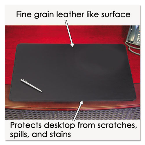 Sagamore Desk Pad w/Decorative Stitching, 36 x 20, Black. Picture 4