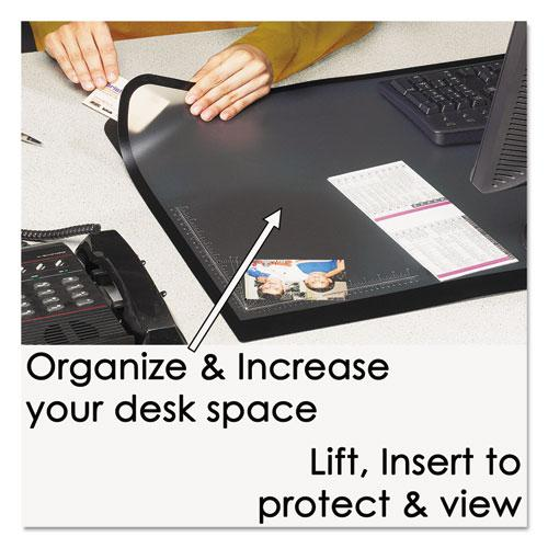 Lift-Top Pad Desktop Organizer with Clear Overlay, 31 x 20, Black. Picture 2