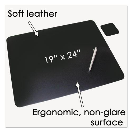 Leather Desk Pad w/Coaster, 19 x 24, Black. Picture 2