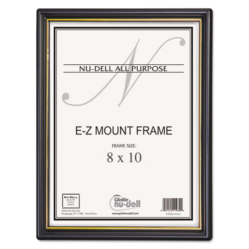 EZ Mount Document Frame with Trim Accent and Plastic Face, Plastic, 8 x 10, Black/Gold. Picture 1