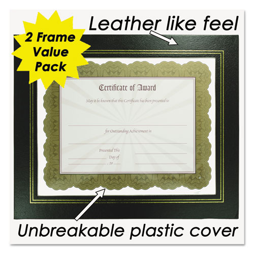 Leatherette Document Frame, 8-1/2 x 11, Black, Pack of Two