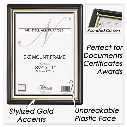 EZ Mount Document Frame with Trim Accent, Plastic Face , 8.5 x 11, Black/Gold. Picture 2