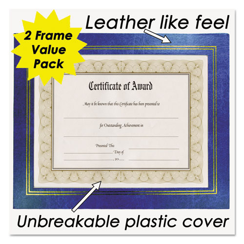 Leatherette Document Frame, 8-1/2 x 11, Blue, Pack of Two