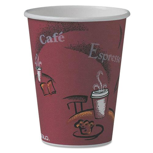 Solo Bistro Design Hot Drink Cups, Paper, 12oz, Maroon, 50/Pack. Picture 1