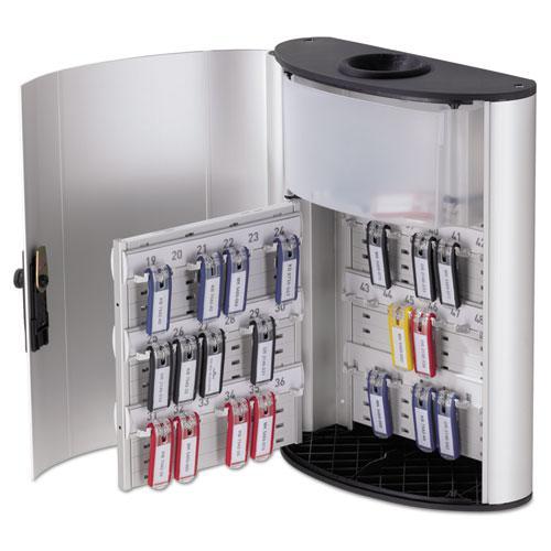 Key Box Plus, 54-Key, Brushed Aluminum, Silver, 11 3/4 x 4 5/8 x 15 3/4. Picture 1