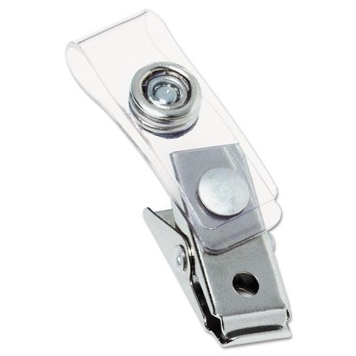 """Badge Clips w/Plastic Straps, 0.5"""" x 1.5"""", Silver, 100/Box. Picture 1"""