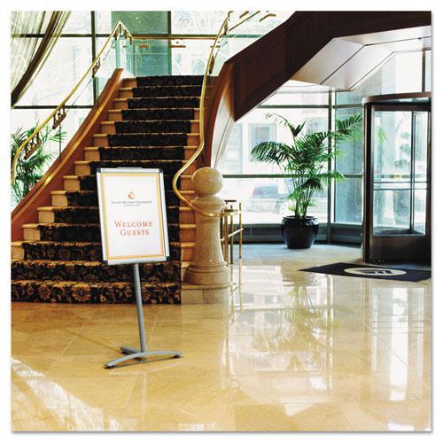 "Improv Lobby Clip-Frame Pedestal Sign, 18 x 24 Frame, 54"" High, Aluminum. Picture 2"