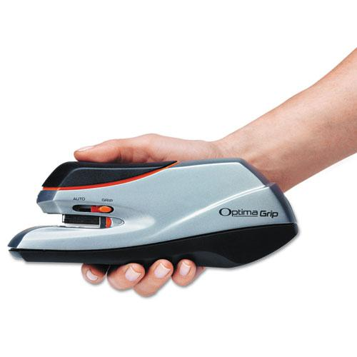 Optima Grip Electric Stapler, 20-Sheet Capacity, Black/Silver. Picture 3