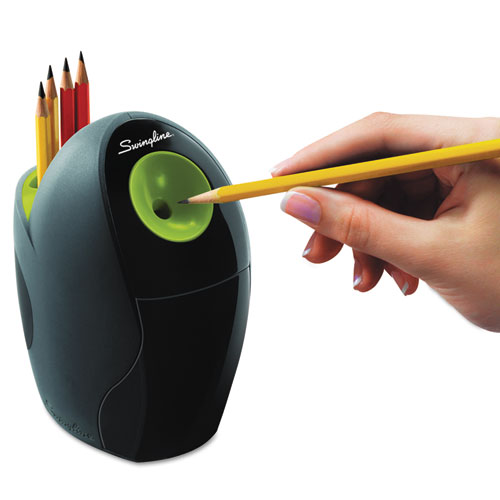 "Personal Electric Pencil Sharpener, AC-Powered, 4.4"" x 7.2"" x 6.6"", Graphite/Green. Picture 4"