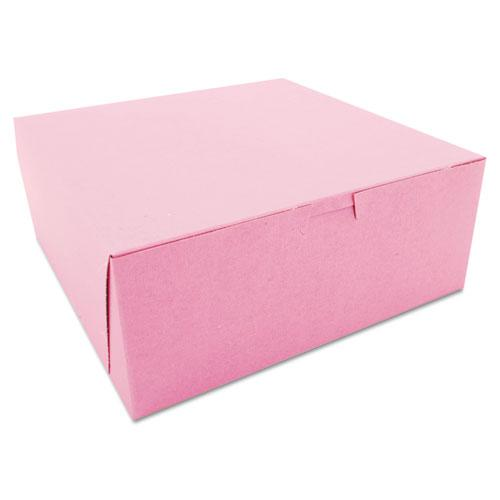 Non-Window Bakery Boxes, 10 x 10 x 4, Pink, 100/Carton. Picture 1