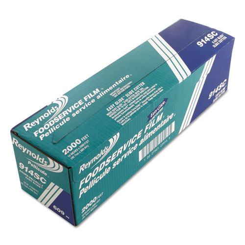 """PVC Food Wrap Film Roll in Easy Glide Cutter Box, 18"""" x 2000 ft, Clear. Picture 2"""