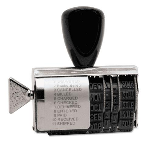 Rubber 11-Message Dial-A-Phrase Stamp, Dater, Conventional, 2 x 0.38. Picture 1
