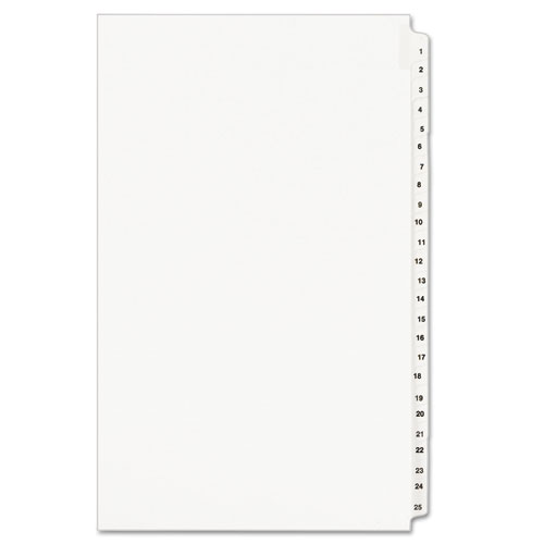 Preprinted Legal Exhibit Side Tab Index Dividers, Avery Style, 25-Tab, 1 to 25, 14 x 8.5, White, 1 Set, (1430). Picture 1