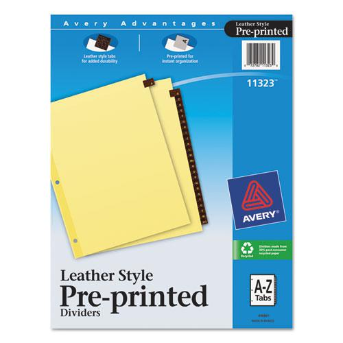 Preprinted Red Leather Tab Dividers w/Clear Reinforced Edge, 25-Tab, Ltr. Picture 1