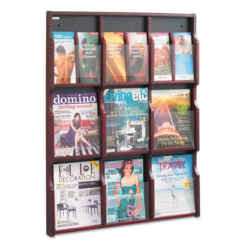 Expose Adjustable Magazine/Pamphlet 9 Pocket Display, 29.75w x 2.5d x 38.25h, Mahogany. Picture 2