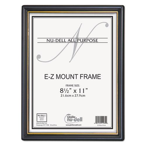 EZ Mount Document Frame with Trim Accent, Plastic Face , 8.5 x 11, Black/Gold. Picture 1