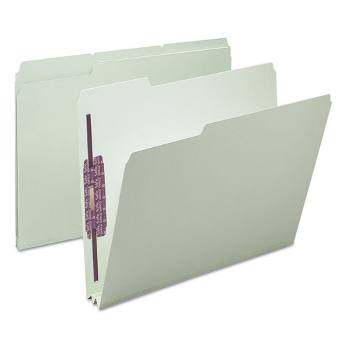 """Recycled Pressboard Folders with Two SafeSHIELD Coated Fasteners, 1/3-Cut Tabs, 2"""" Expansion, Letter Size, Gray-Green, 25/Box. Picture 6"""