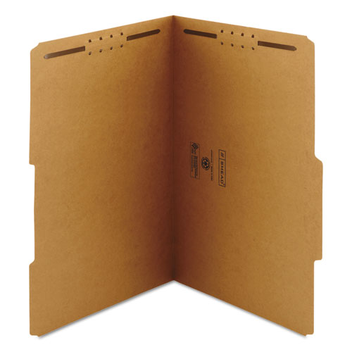 Top Tab 2-Fastener Folders, 2/5-Cut Tabs, Right of Center, Legal Size, 11 pt. Kraft, 50/Box. Picture 3