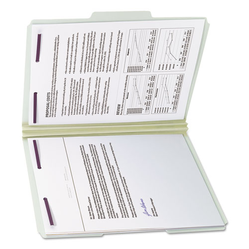 """Recycled Pressboard Folders with Two SafeSHIELD Coated Fasteners, 1/3-Cut Tabs, 2"""" Expansion, Letter Size, Gray-Green, 25/Box. Picture 5"""