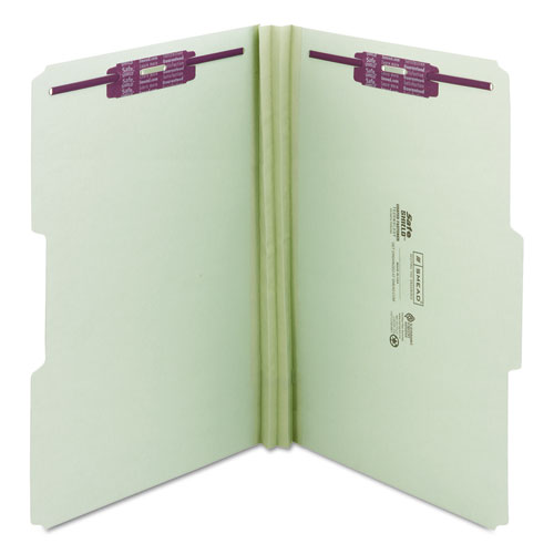 """Recycled Pressboard Folders with Two SafeSHIELD Coated Fasteners, 1/3-Cut Tabs, 2"""" Expansion, Legal Size, Gray-Green, 25/Box. Picture 6"""