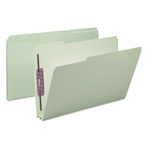 """Recycled Pressboard Folders with Two SafeSHIELD Coated Fasteners, 1/3-Cut Tabs, 2"""" Expansion, Legal Size, Gray-Green, 25/Box. Picture 7"""