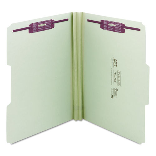 """Recycled Pressboard Folders with Two SafeSHIELD Coated Fasteners, 1/3-Cut Tabs, 2"""" Expansion, Letter Size, Gray-Green, 25/Box. Picture 2"""