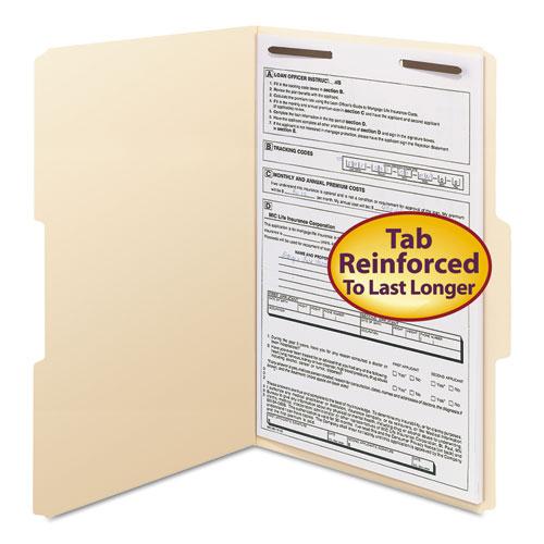 Top Tab 1-Fastener Folders, 1/3-Cut Tabs, Legal Size, 11 pt. Manila, 50/Box. Picture 1