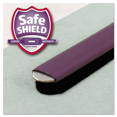 """Recycled Pressboard Folders with Two SafeSHIELD Coated Fasteners, 1/3-Cut Tabs, 2"""" Expansion, Legal Size, Gray-Green, 25/Box. Picture 8"""