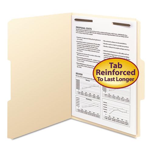 Top Tab 1-Fastener Folders, 1/3-Cut Tabs, Letter Size, 11 pt. Manila, 50/Box. Picture 1