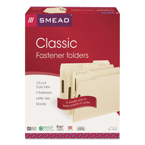 Top Tab 2-Fastener Folders, 1/3-Cut Tabs, Letter Size, 11 pt. Manila, 50/Box. Picture 6