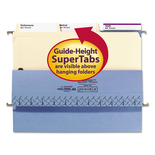 SuperTab Reinforced Guide Height 2-Fastener Folders, 1/3-Cut Tabs, Letter Size, 11 pt. Manila, 50/Box. Picture 4