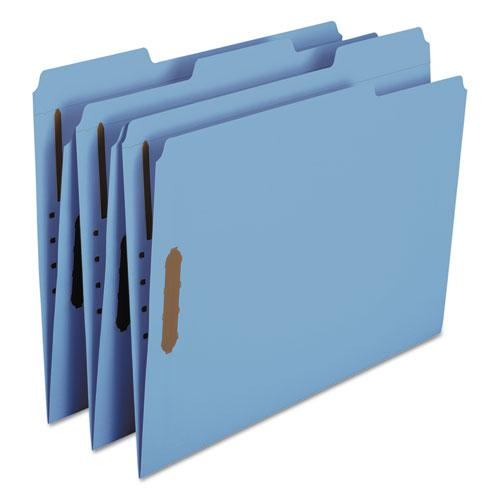 Top Tab Colored 2-Fastener Folders, 1/3-Cut Tabs, Letter Size, Blue, 50/Box. Picture 4