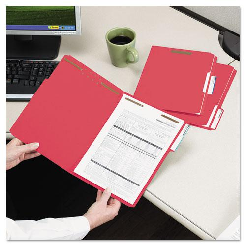Top Tab Colored 2-Fastener Folders, 1/3-Cut Tabs, Letter Size, Red, 50/Box. Picture 3