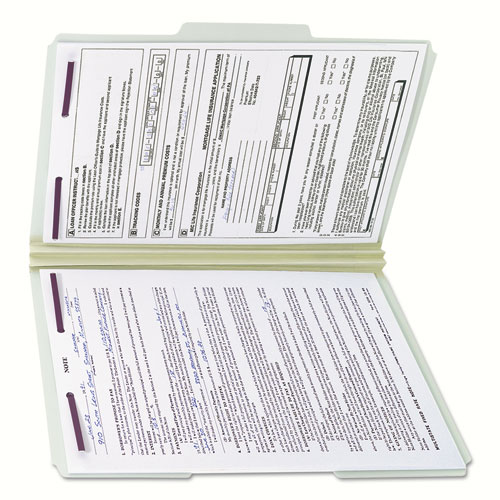 """Recycled Pressboard Folders with Two SafeSHIELD Coated Fasteners, 1/3-Cut Tabs, 2"""" Expansion, Legal Size, Gray-Green, 25/Box. Picture 9"""