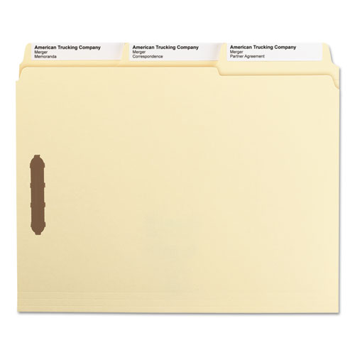SuperTab Reinforced Guide Height 2-Fastener Folders, 1/3-Cut Tabs, Letter Size, 11 pt. Manila, 50/Box. Picture 6