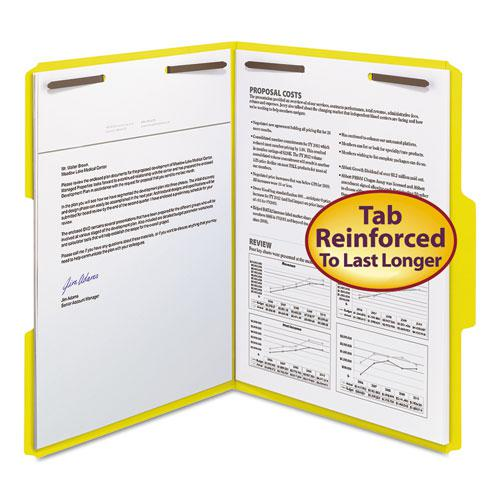Top Tab Colored 2-Fastener Folders, 1/3-Cut Tabs, Letter Size, Yellow, 50/Box. Picture 3