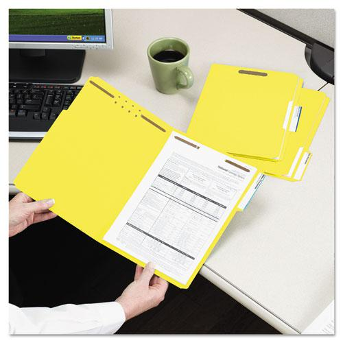 Top Tab Colored 2-Fastener Folders, 1/3-Cut Tabs, Letter Size, Yellow, 50/Box. Picture 6