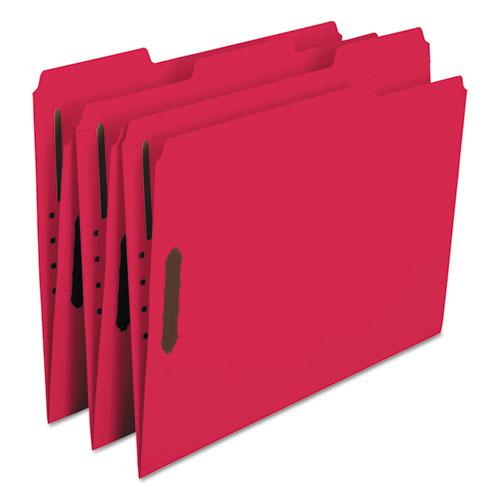 Top Tab Colored 2-Fastener Folders, 1/3-Cut Tabs, Letter Size, Red, 50/Box. Picture 4