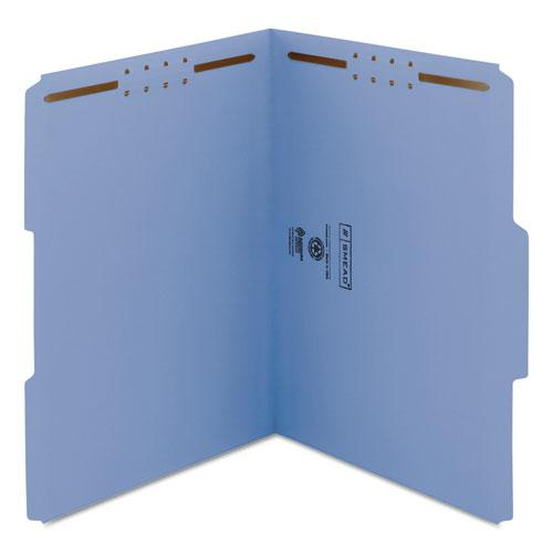 Top Tab Colored 2-Fastener Folders, 1/3-Cut Tabs, Letter Size, Blue, 50/Box. Picture 6