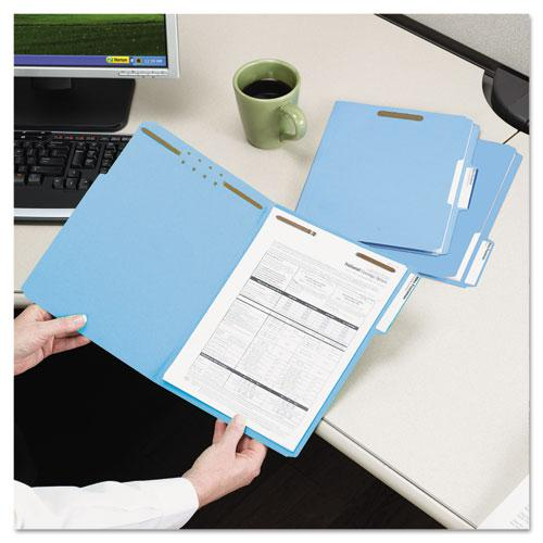 Top Tab Colored 2-Fastener Folders, 1/3-Cut Tabs, Letter Size, Blue, 50/Box. Picture 8