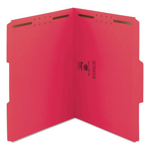Top Tab Colored 2-Fastener Folders, 1/3-Cut Tabs, Letter Size, Red, 50/Box. Picture 7