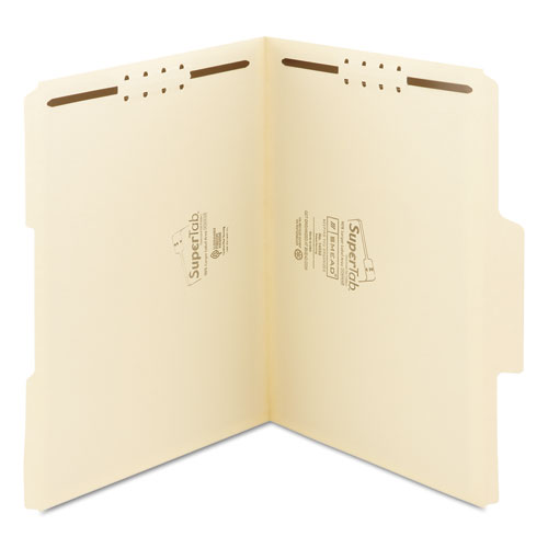 SuperTab Reinforced Guide Height 2-Fastener Folders, 1/3-Cut Tabs, Letter Size, 11 pt. Manila, 50/Box. Picture 7