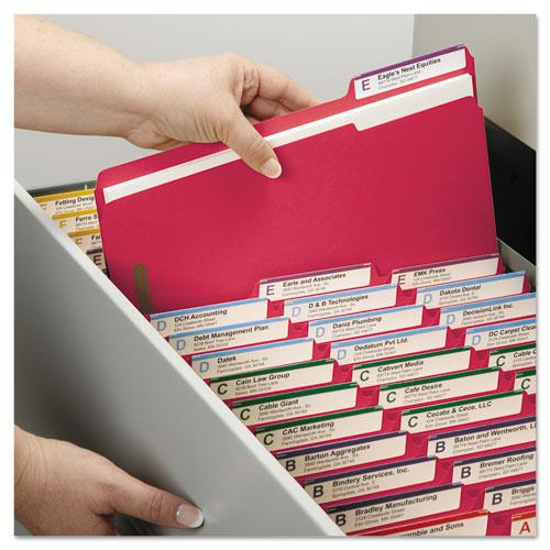 Top Tab Colored 2-Fastener Folders, 1/3-Cut Tabs, Letter Size, Red, 50/Box. Picture 5