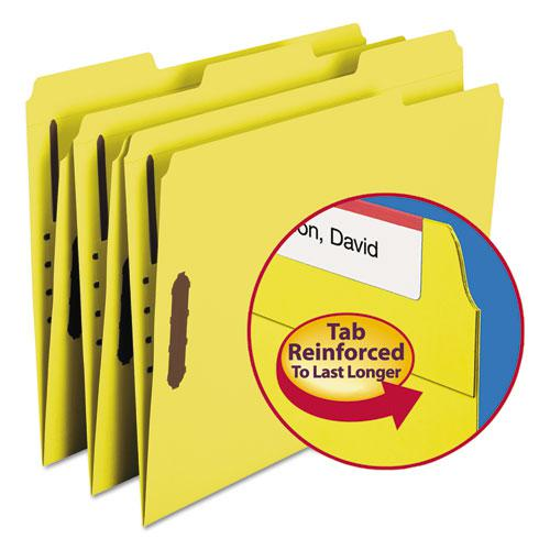 Top Tab Colored 2-Fastener Folders, 1/3-Cut Tabs, Letter Size, Yellow, 50/Box. Picture 1